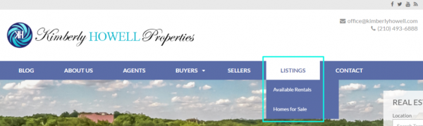 Menu - Listings Button Expanded - Kimberly Howell Properties